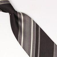 John G Hardy Mens Silk Necktie Black Gray White Herringbone Multi Stripe Tie