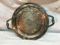 Ornate Design Round 15in  Serving Butler Tray Copper Silver Plated