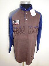 Jacky ICKX Polo-Shirt Herren Langarm Blau Braun Gemustert Baumwolle Gr. M