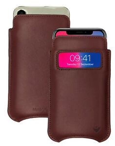 For Apple iPhone X/Xs Case Brown Real Leather NueVue Screen Cleaning Sanitizing