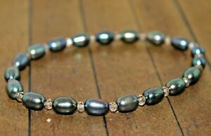 New High Grade Genuine Pearl bracelet with crystals  - Liquidation - A4579c