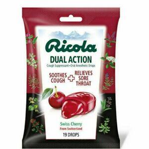 Ricola Dual Action Lozenges Soothes Cough Relive Sore Throat Cherry Flavor 19ct