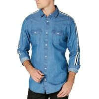 INC NEW Men's Side Stripe Button-Front Shirt TEDO