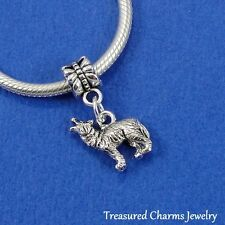 Silver HOWLING WOLF Werewolf Halloween Dangle Bead CHARM fits EUROPEAN Bracelet