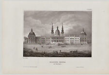Mafra Palácio Nacional de Mafra. Grafik, Stich, Original Stahlstich 1850
