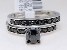 10K Ladies White Gold Black Diamond Solitaire Enagagement Bridal Ring Set 1.05Ct