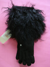 WOMENS UGG SHEARLING LONG PILE CUFF FUR GLOVES 3/4 LENGTH SMALL NEW