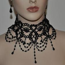 SET Gothic Collier und Ohrringe Choker Perlen Kette Tracht Halskette Schwarz Gr