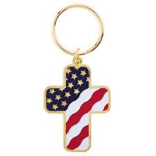 United States USA Flag Cross Key Chain Red White Blue Stars Stripes Keychain