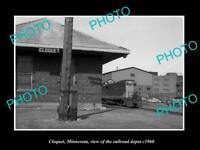 OLD POSTCARD SIZE PHOTO CLOQUET MINNESOTA THE RAILROAD STATION DEPOT c1960