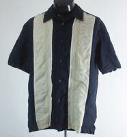 Cubavera Mens Shirt Camp Cuban Rockabilly Medium Blue Embroidered