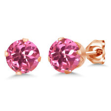 2.00 Ct Round Shape Pink Mystic Topaz Rose Gold Plated Silver Stud Earrings