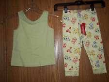 Gymboree Girls Size 5 Green Floral 2 Piece Top Leggings