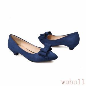 Women's Shoes Pointy Toe Wedding Suede Kitten Heel Bowknot Slip On Pumps 34/45