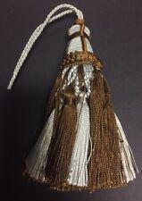 """5&1/2"""" Dark Brown Mint Tied Key Tassel Fabric Trim Lot Of 2"""