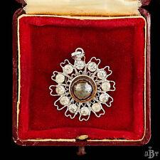 Antique Vintage Deco Rhodium Plated Hematite Diamond Paste Pin Brooch Pendant
