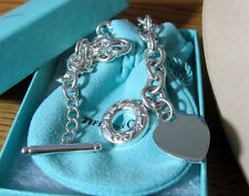NEW Tiffany & Co. Heart Charm Toggle Circle Chain Necklace Sterling Silver 925