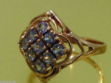 s R156 Genuine 9ct Solid Pink / Rose Gold NATURAL TANZANITE Cluster Ring size N