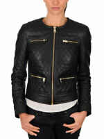 WOMENS BLACK SLIM FIT QUILTED BIKER STYLE MOTO LAMBSKIN LEATHER JACKET S M L 1