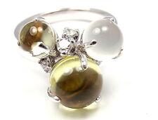 Rare! Authentic Celine 18k White Gold Diamond Moonstone Peridot Ring