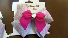 This is a pretty pair of one of a kind grey and pink hair bows with rhinestone