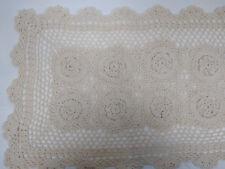 Table Runner Ecru Hand Crochet Lace Doily Cotton 14 x 40 inch