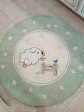 Vintage Pottery Barn Kids Nursery Round Rug Counting Sheep Lamb Green Wool
