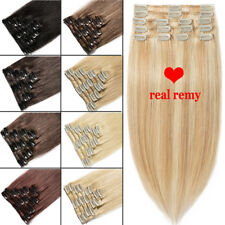 Full Head Clip In Remy Human Hair Extensions Blonde Blacl Long Cheap Price K183