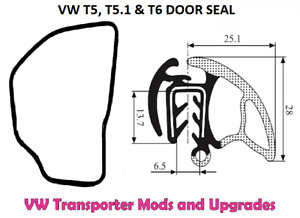 For VW Transporter T5 T5.1 and T6 Front Door Seal - Fits Both Sides