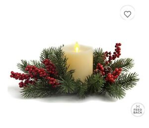 Luminara 4.5 Inch Candle Holiday Wreath. New In Box. Flameless