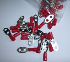 10 Wire Ring Terminals Vinyl Red 22-18 AWG Gauge Ground Grounding Connector EARL