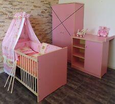 Chambre de bébé complet lit commode à barreaux 5farben CONVERTIBLE ROSE BLANC