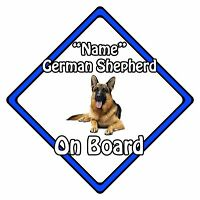 Personalised Dog On Board Car Safety Sign - German Shepherd On Board Blue