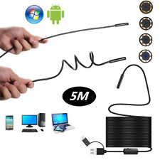 5m 8mm HD Car Inspection Camera Scope 8LED Borescope Hard Cable Tube Android Win