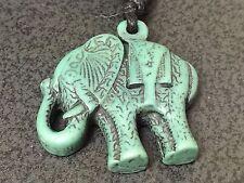 """Elephant Circus Indian Yak Bone Mix Turquoise Charm Adjustable Rope 16"""" Necklace"""