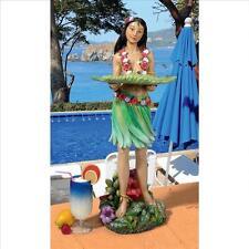 HAWAIIAN ISLAND HULA GIRL SCULPTURE STATUE w MOVABLE SERVING TRAY Outdoor Bar