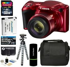 Canon PowerShot SX420 IS 20MP 42x Super Zoom Digital Camera -Red + 32GB Bundle