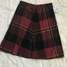 VTG 16 Wool Midi Skirt Red Brown Plaid Holiday Winter A-Line EUC Nan Dorsey