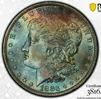 1883-O MORGAN SILVER DOLLAR PCGS MS63 COLOR GEM TONED RAINBOW BU UNC (DR)