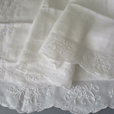 """Pr Antique French White Linen 35"""" PILLOW SHAMS Hand Embroidered FLOWERS Eyelets"""