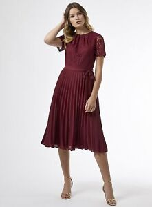 Dorothy Perkins Womens Berry Red Lace Pleat Midi Dress Short Sleeve Round Neck