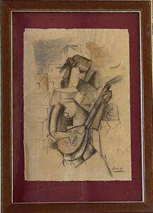 Original vintage rare art Pastel on paper!Pablo Picasso hand signed-framed!