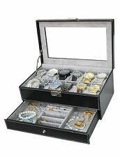 Watch Box Jewelry Case Organizer Large 12 Mens Black Leather Display Glass Top