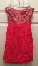 Guess Women's Strapless Sweetheart Cut Pink Silver Striped Summer Short Dress XS