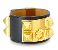 Authentic Brand New HERMES Collier De Chien CDC Bracelet Black Gold Size S