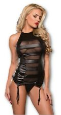 Allure Lingerie Black Halter Neck Corset Set Wet-Look Mesh Panels Women's SM-MD
