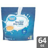 Great Value Instant Nonfat Dry Powder Milk 64 oz (1.81 Kg) Drink Cooking Baking