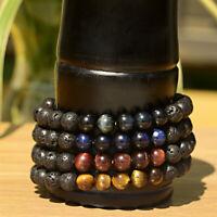 Charm Mens Bracelet Natural Tiger Eyes Lava Stone Beads Healing Bracelets