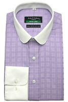 Peaky Blinders shirt Mens Penny collar Lilac checks Club Round Shelby brothers