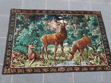 Tapis DESIGN 1960 Coton le Cerf et les Biches dans la forêt 130 x 90 cm